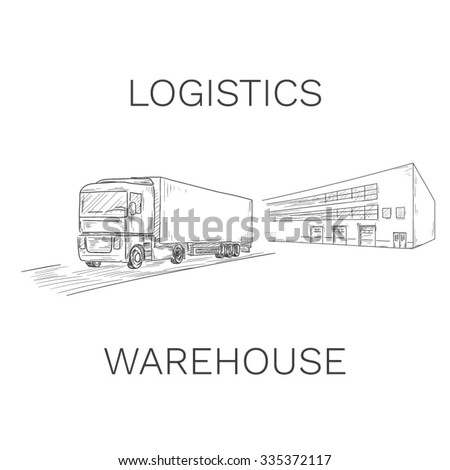 Logistics sign with truck and warehouse vector illustration - stock vector