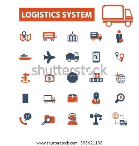 logistics system icons  - stock vector