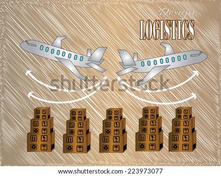 Logistics technology concept,box and plane vector - stock vector