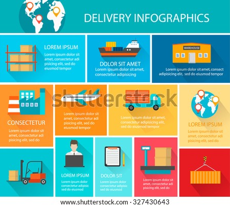 Logistics, warehouse, cargo and delivery infographics with icons set. Template for infographic, presentation, chart, vector illustration - stock vector
