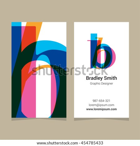 "Logo alphabet letter ""b"", with business card template. Vector graphic design elements for company logo. - stock vector"