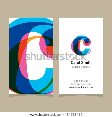 "Logo alphabet letter ""c"", with business card template. Vector graphic design elements for company logo. - stock vector"