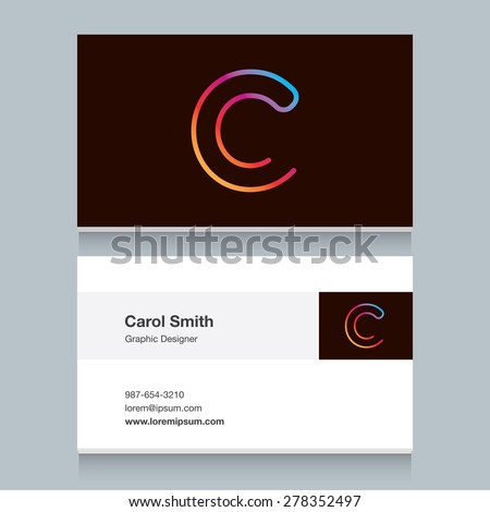 """Logo alphabet letter """"C"""", with business card template. Vector graphic design elements for your company logo. - stock vector"""
