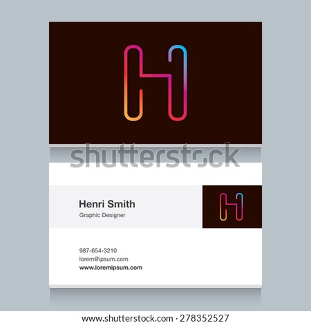 """Logo alphabet letter """"H"""", with business card template. Vector graphic design elements for your company logo. - stock vector"""