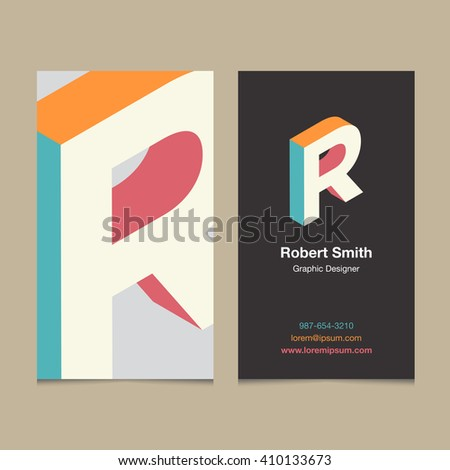 "Logo alphabet letter ""R"", with business card template. Vector graphic design elements for company logo. - stock vector"