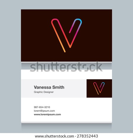 """Logo alphabet letter """"V"""", with business card template. Vector graphic design elements for your company logo. - stock vector"""