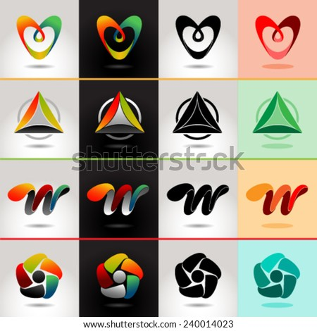 Logo and Abstract web Icon vector identity symbol. Unusual icon and sticker set. Graphic design easy editable for Your design. - stock vector