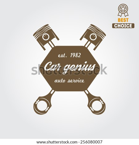 Logo, badge, emblem and logotype element for mechanic, garage, car repair and auto service - stock vector
