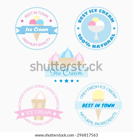 Logo badges with ice creams and text. Retro style. Can be used for logos, labels, badges and products design. - stock vector