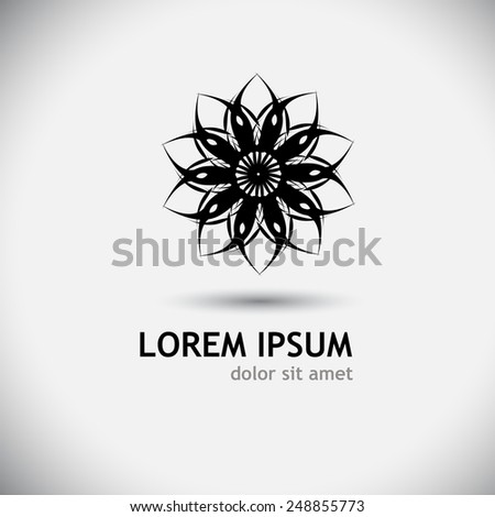 Logo black stylized flower. Vector - stock vector