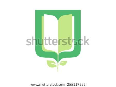 Logo. Book. Education. Blazon. Vector. - stock vector