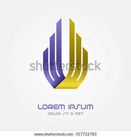 Logo Business abstract vector design template, Hi tech logotype, Corporation, Building, Aviation, Vector Eps 10 - stock vector
