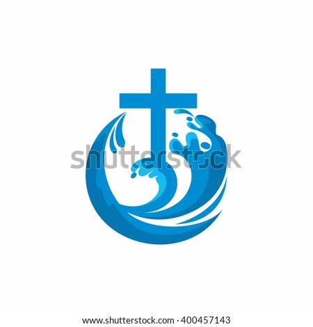 Logo church. Christian symbols. Cross and waves. Jesus - the source of living water. - stock vector