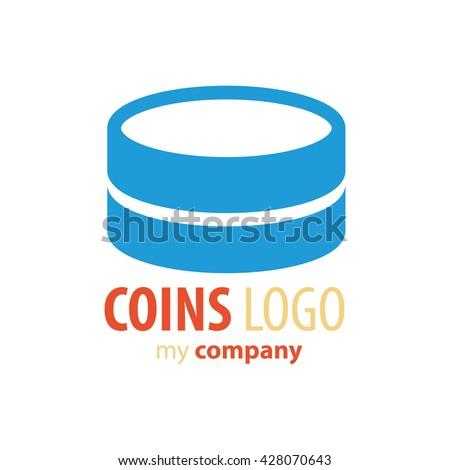 Logo Coins   blue color - stock vector