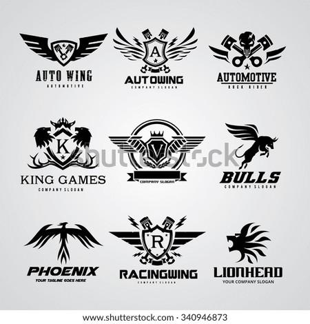 Logo collection,logo set,automotive logo,skull logo,rock logo,wing logo,warrior logo,sound logo,bike logo,Motorcycle logo,motorbike logo,t-shirt,tattoo,fox,lion logo,eagle,animal logo,crest,crests - stock vector