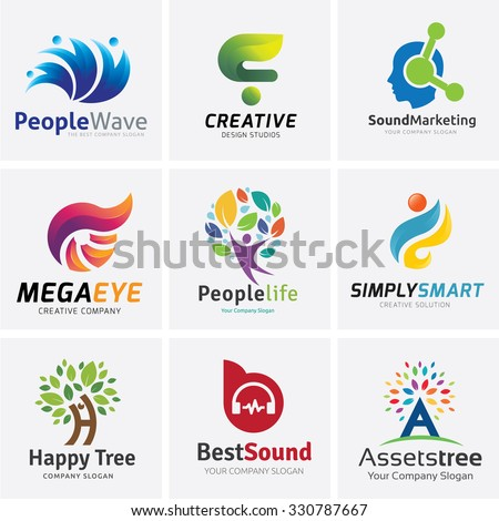 Logo collection,People Logo,brain logo,creative logo,Tree logo,sound Logo,Vector Logo Template - stock vector