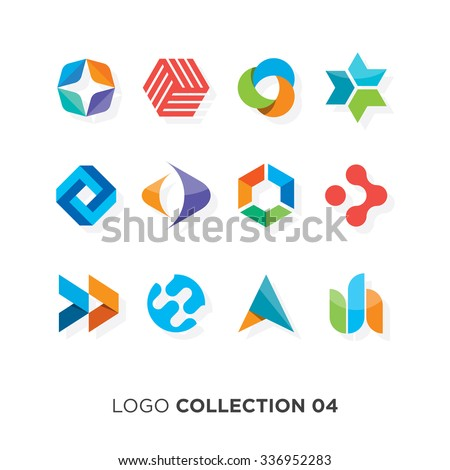 Logo collection 06. Vector graphic design elements for company logo. - stock vector
