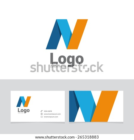 Logo design element with two business cards. Logo letter. - stock vector