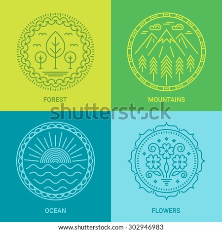 Logo design templates in linear style on Green, Blue and Cyan background. Forest, mountains, ocean and flowers signs - travel and ecology concept. Perfect as emblems, labels and badges - stock vector