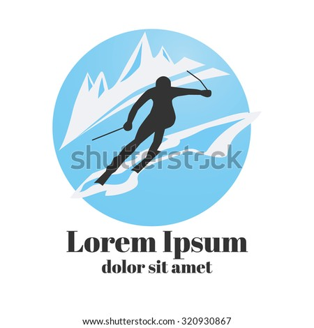 Logo design with skier. Skis or sports icon. Vector EPS 10  - stock vector
