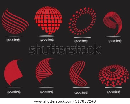 Logo designs. Vector illustration. Red spheres on black background. - stock vector