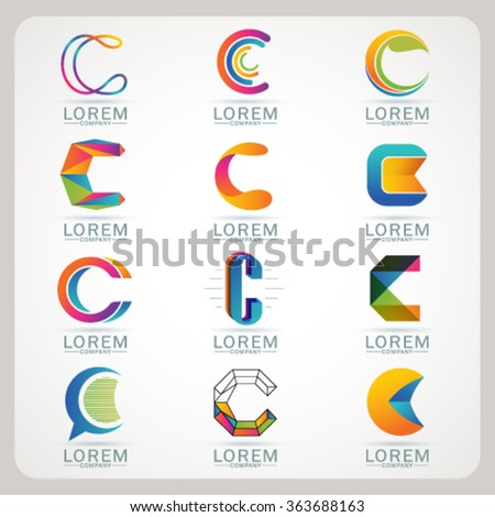 Logo element C and Abstract web Icon and globe vector symbol. Unusual sign icon and sticker set. Graphic design easy editable for Your design. Modern logotype icon. - stock vector