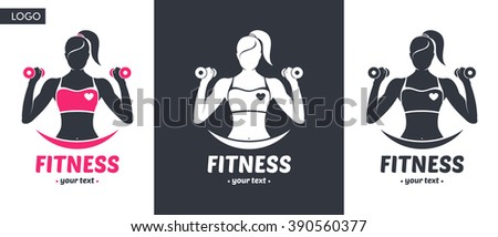 Logo fitness girl silhouette black and white, color - stock vector