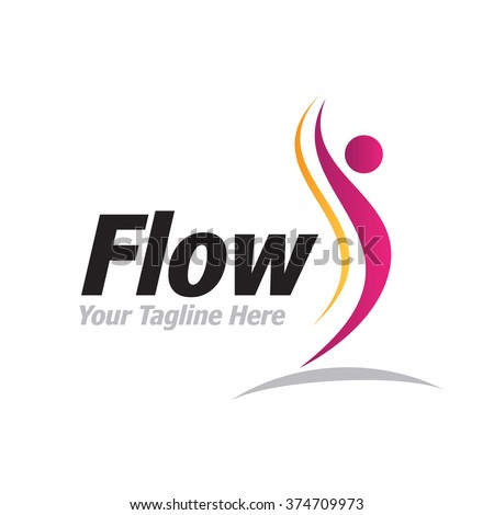 Logo Flow Man Icon Element Template Design Logos - stock vector