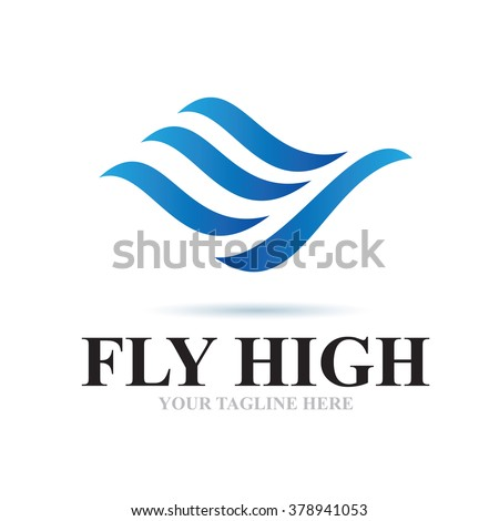 Logo Fly High Icon Element Template Design Logos - stock vector