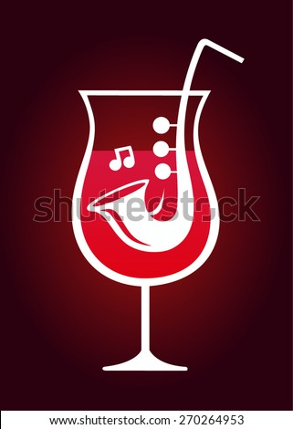 Logo for a music bar. Abstract musical instrument in a glass. Wineglass - stock vector