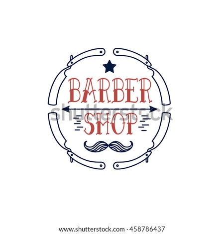 Logo for barbershop, hairdresser, beauty salon.Circle of razors. Cowboy mustache and star. Vector illustration - stock vector