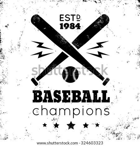 Logo for baseball on grunge background - stock vector