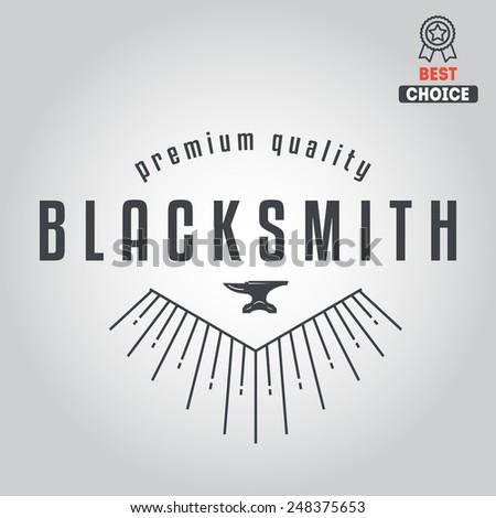 Logo for blacksmith, typographic logotype - stock vector