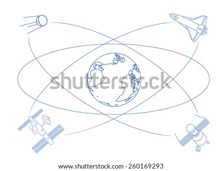 Logo for International Day of Human Space Flight. Satellites orbiting Earth, taking pictures, relaying communications, broadcasting locations, spying on you ... - stock vector