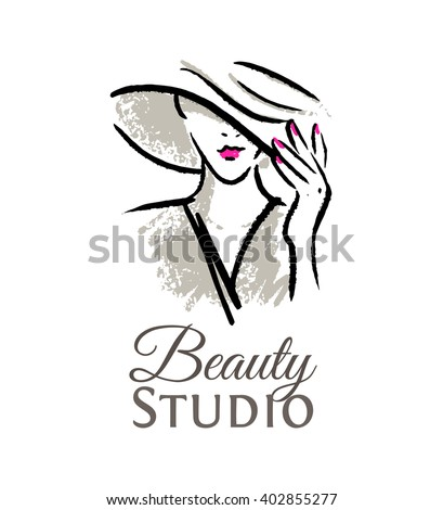 Logo for the beauty studio. Woman in hat with red lips and manicure. - stock vector
