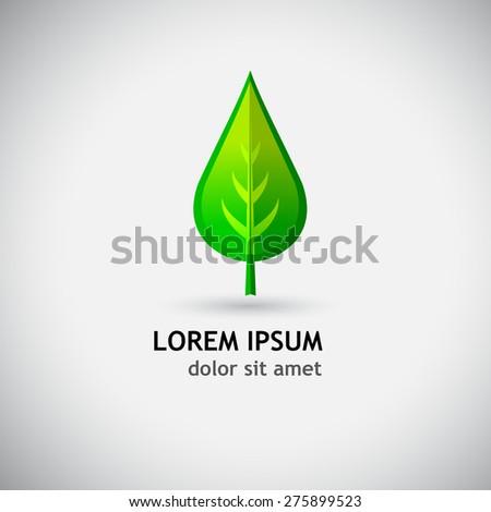 Logo green leaf. Vector - stock vector