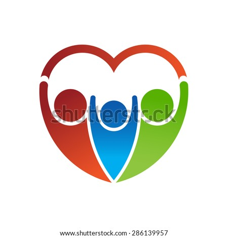 Logo Group of people forming a heart. Family care concept - stock vector