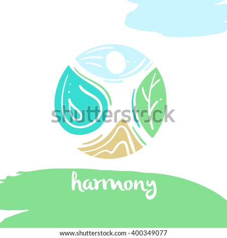 Logo harmony, four nature element, high mountain, blue sky, clean water, green tree. Illustration for eco-friendly technologies and clean energy environmental organization. - stock vector