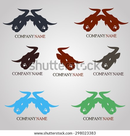 logo, icon, badge, head of a bull, double bull's head and the text, red, green, dark blue. vector illustration - stock vector