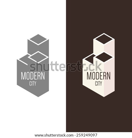 Logo inspiration for construction companies, real estate agencies or architectural companies. Vector Illustration, graphic elements editable for design.  - stock vector