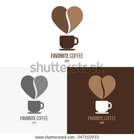 Logo inspiration for shops, companies, advertising or other business with coffee. Vector Illustration, graphic elements editable for design.  - stock vector