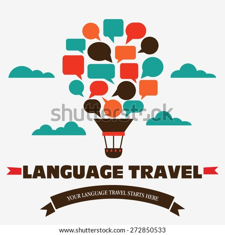 Logo Language travel. Language poster design with hot air balloon in the sky - stock vector