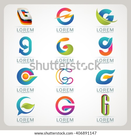Logo letter G element and Abstract web Icon and globe vector symbol. Unusual sign icon and sticker set. Graphic design easy editable for Your design. Modern logotype icon. - stock vector