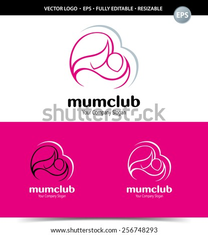 Logo mother and her baby symbol in simple lines. - stock vector