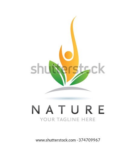 Logo Nature Man Icon Element Template Design Logos - stock vector