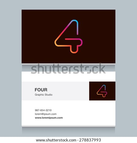 "Logo number four ""4"", with business card template. Vector design fully editable.  - stock vector"