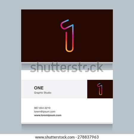 "Logo number one ""1"", with business card template. Vector design fully editable.  - stock vector"