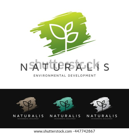 Logo of a simple and stylized plant over green brush shape. This logo is suitable for many purpose as botanist, environmental firm, natural medicine and more. - stock vector