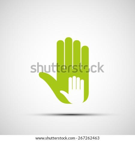 Logo of adult and children's hands. Vector image. - stock vector