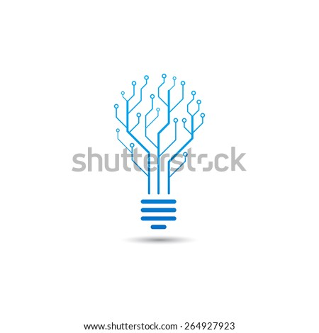 Logo of information technology. Concept of logo in the form of a bulb with circuit board. - stock vector